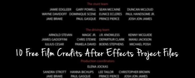 10 Free Film Credits After Effects Project Files