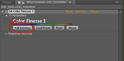 white balance color finesse full interface