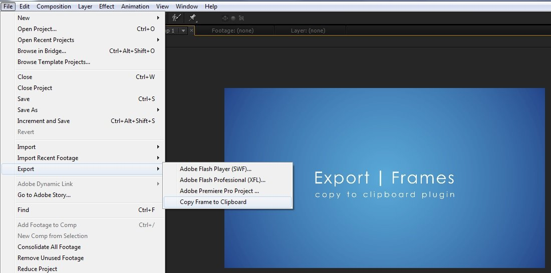 copytoclipboard - fastest way to export a still frame.