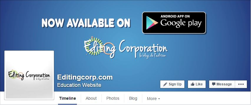 editing corporation facebook page