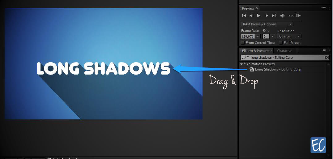 free long shadows preset after effects
