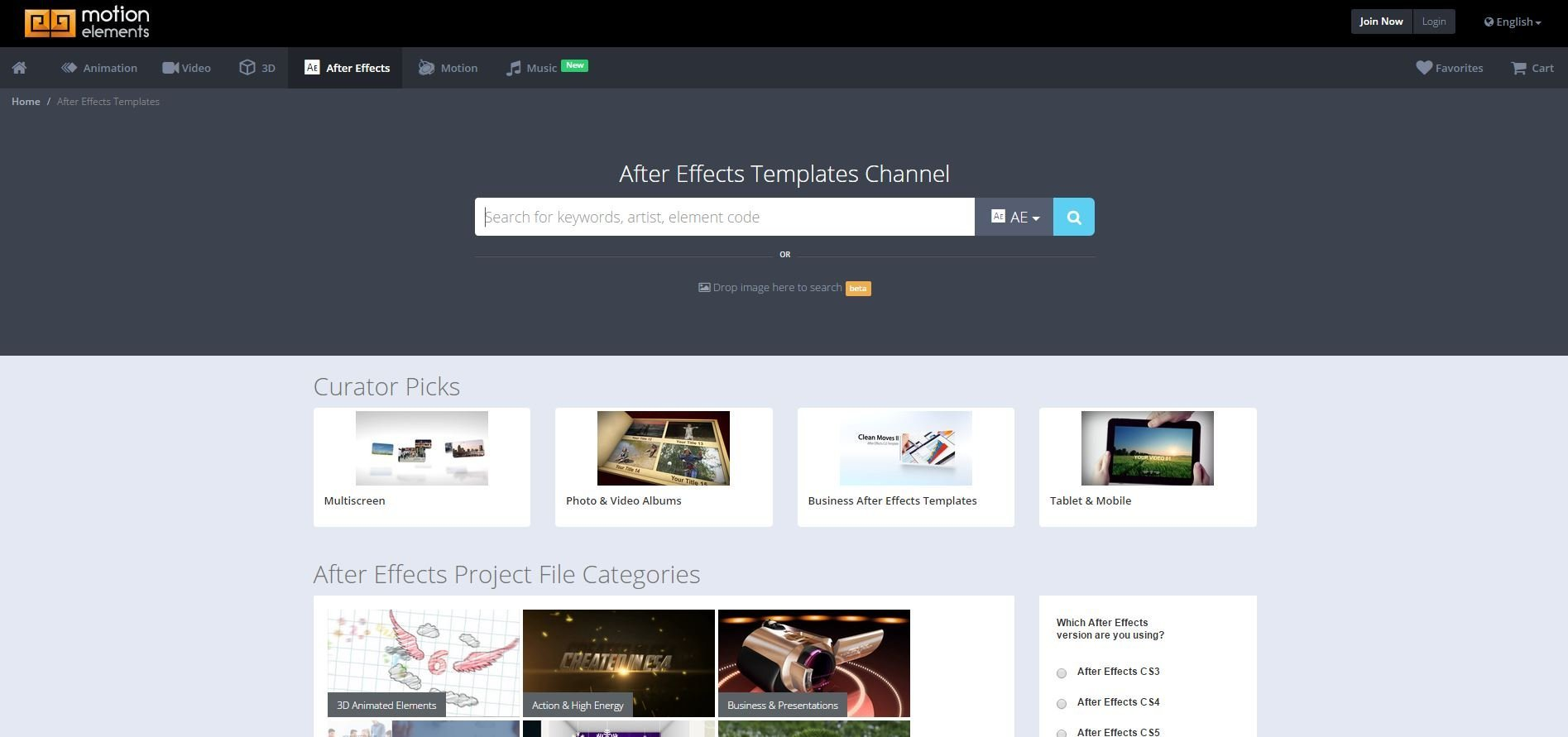 motion elements Websites That Offers After Effects Templates