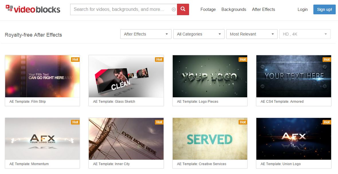 videoblocks Websites That Offers After Effects Templates
