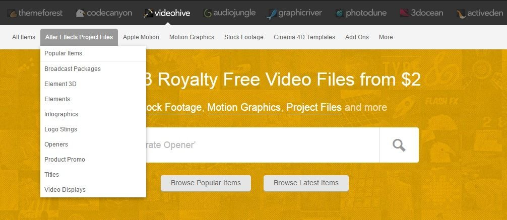 videohive Websites That Offers After Effects Templates