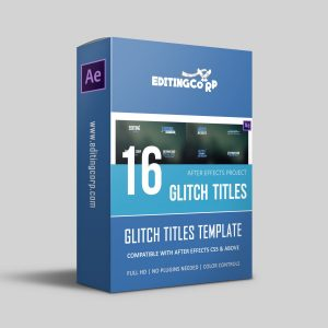 16 glitch titles after effects template