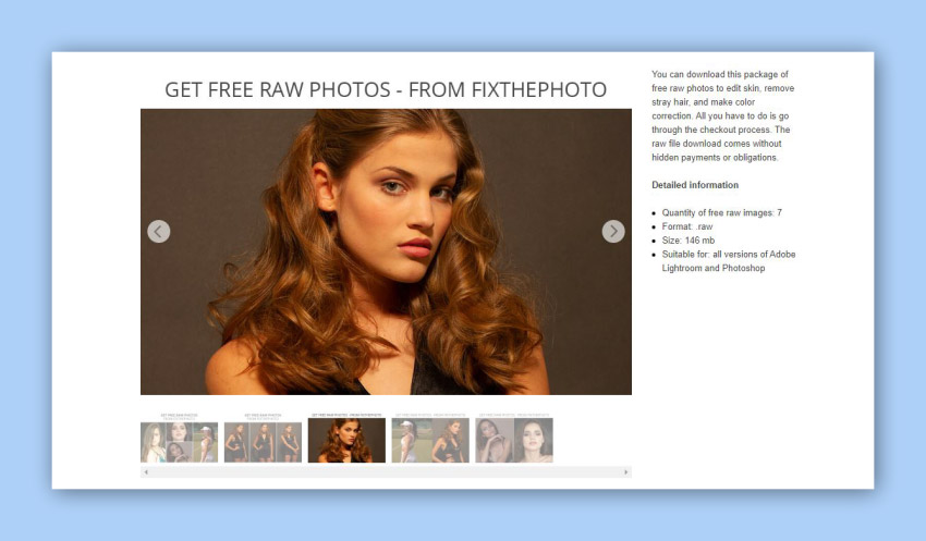 Fix The Photo free raw photos for retouching practice