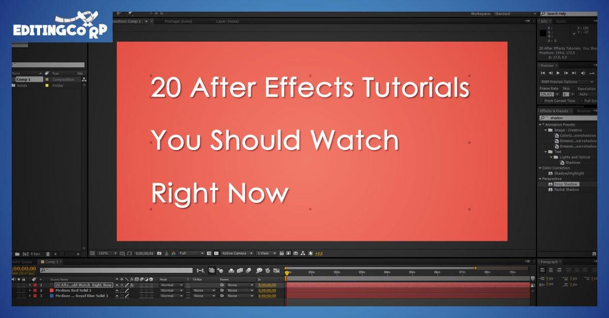 20 after effects tutorials