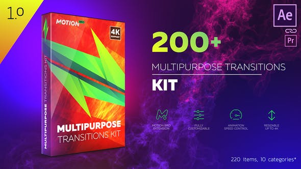200+ multipurpose After Effects Transitions Pack