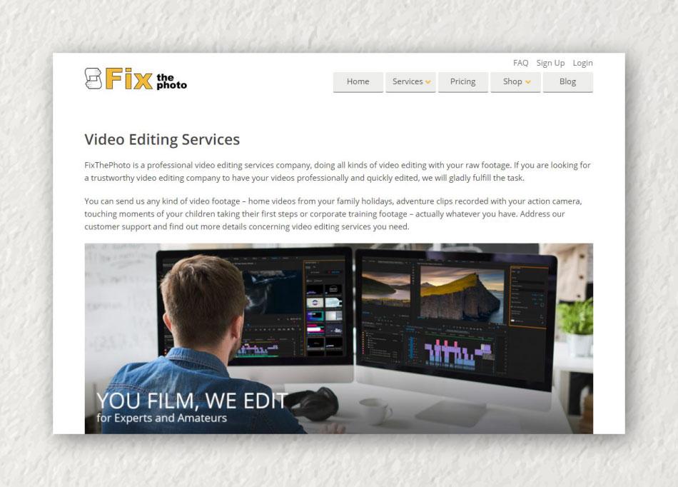 FixThePhoto Online video editing services
