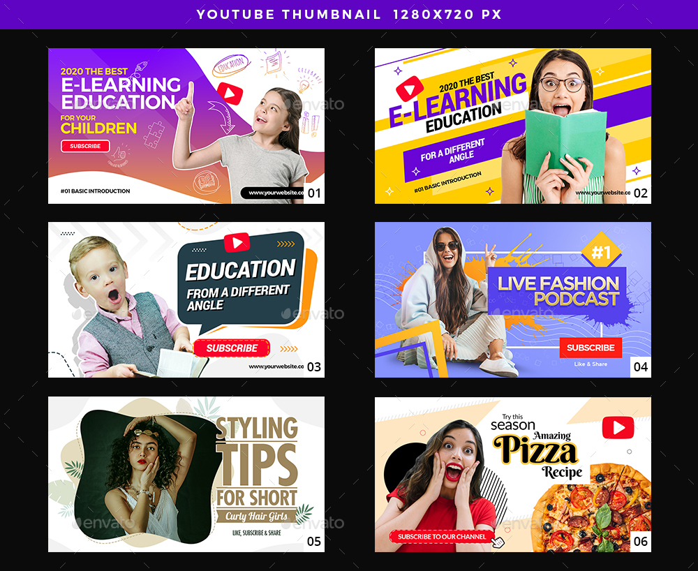 25 Multipurpose YouTube Thumbnails - youtube design assets