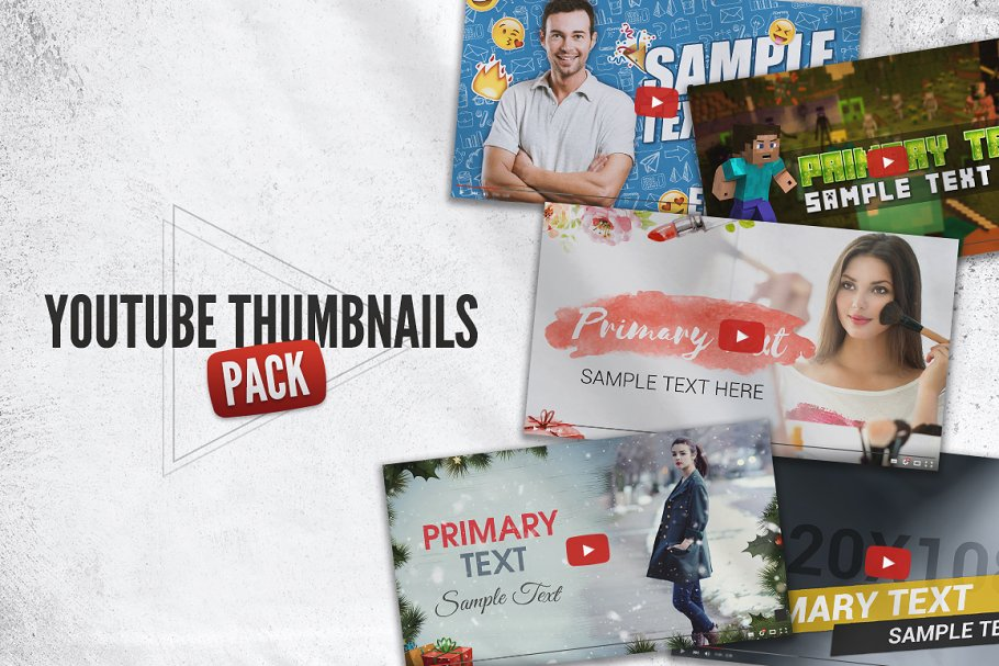 Basic YouTube Thumbnails Packs - youtube design assets