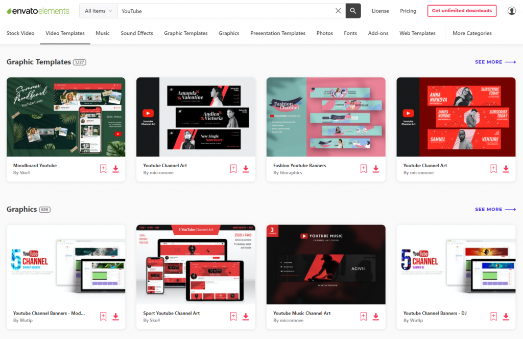Envato Elements YouTube Design Assets
