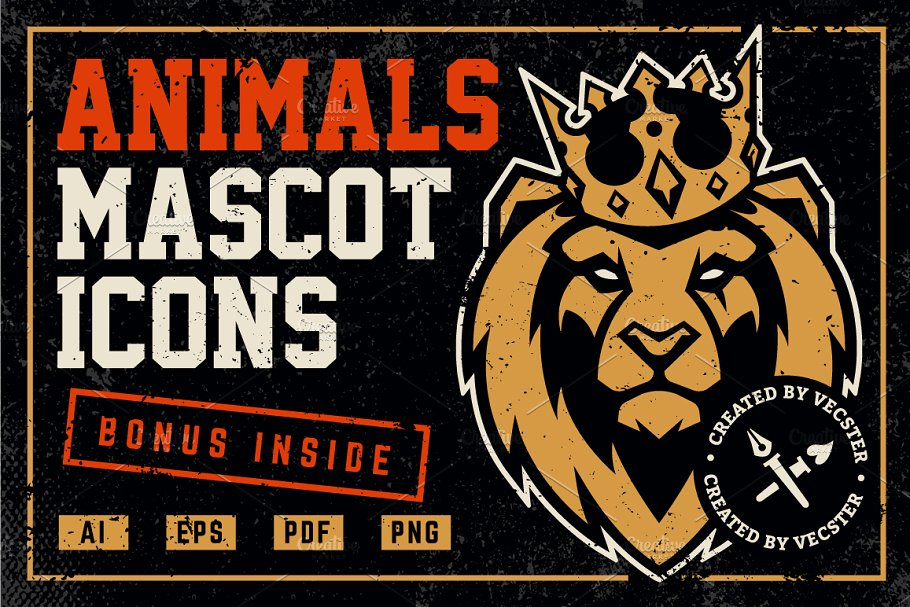 animals mascot set