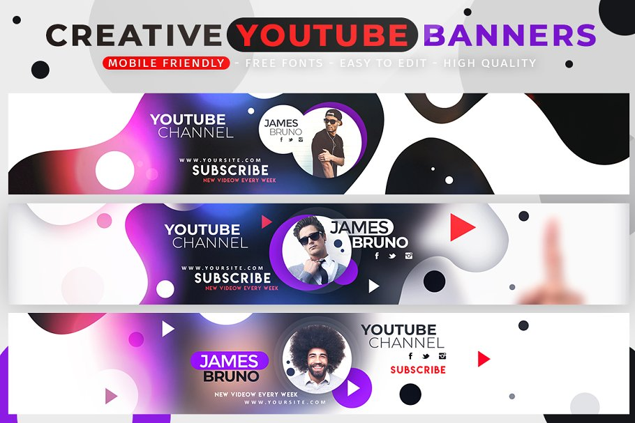 Creative Modern YouTube Banners