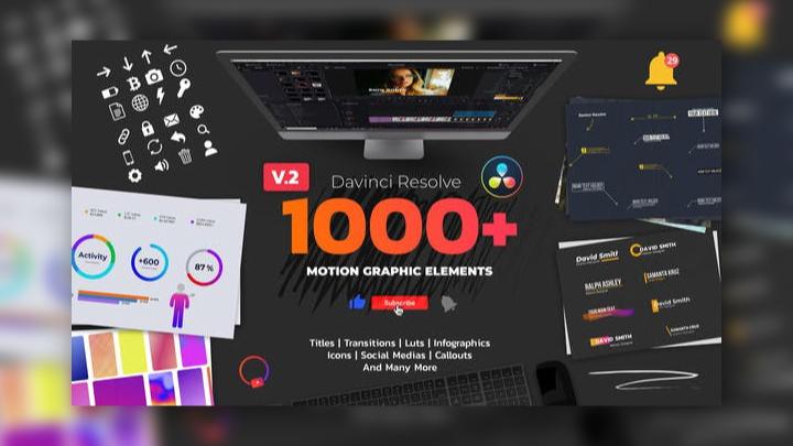 1000+ Motion Graphic Elements - DaVinci Resolve Templates