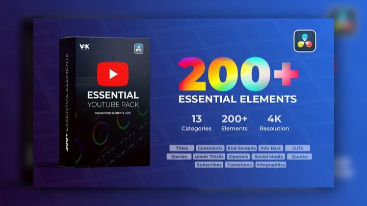 200+ essential elements - DaVinci Resolve Templates