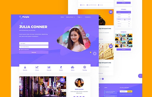 purple wordpress blog theme