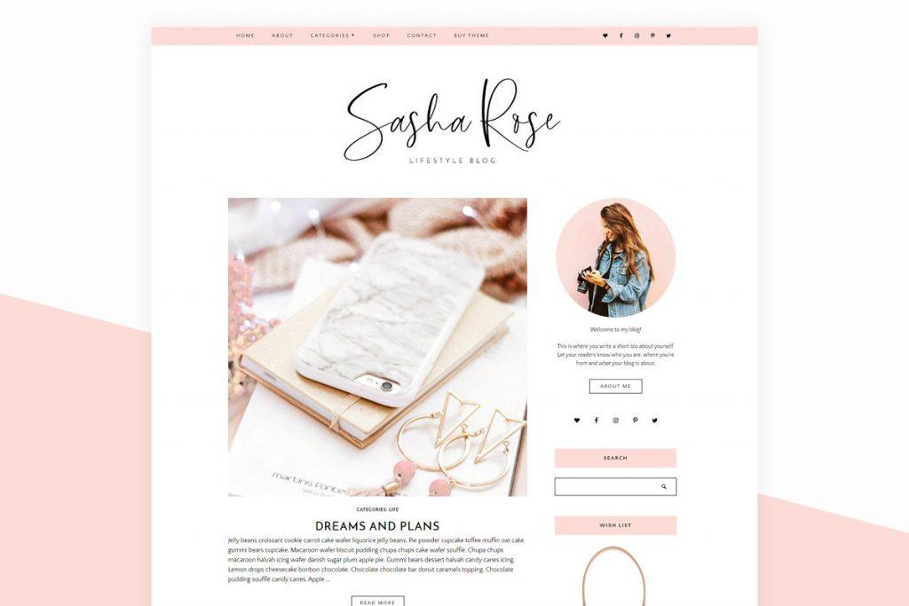 sasha rose wordpress blog theme