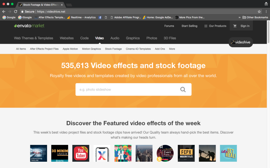 Videohive marketplace