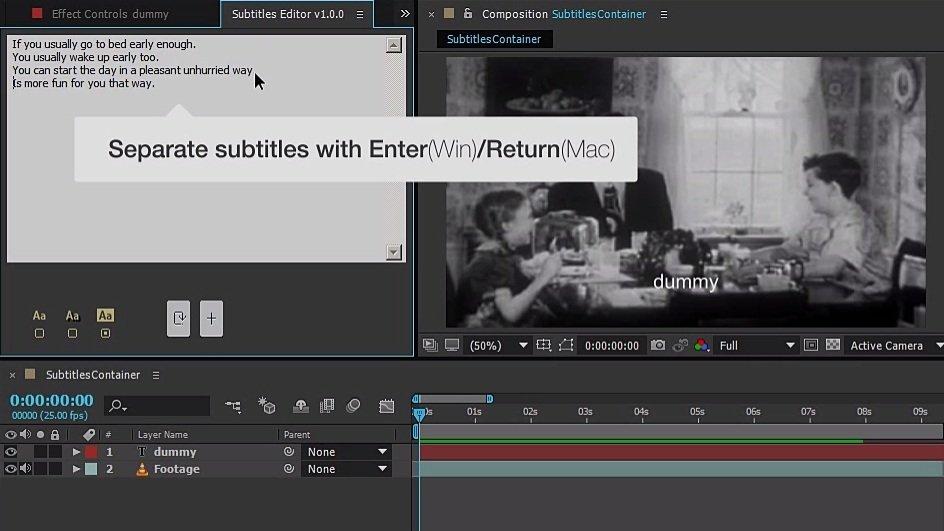 Step 1 - Subtitles Editor