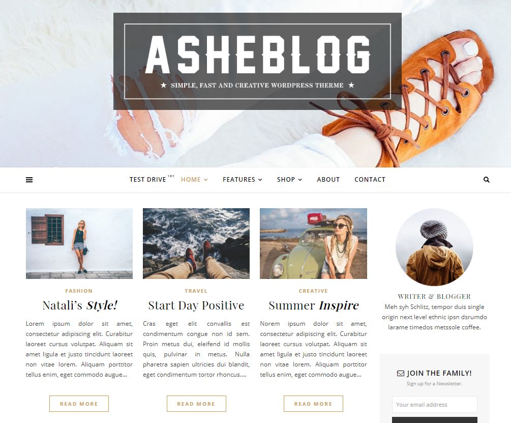ashe wordpress theme for female bloggers