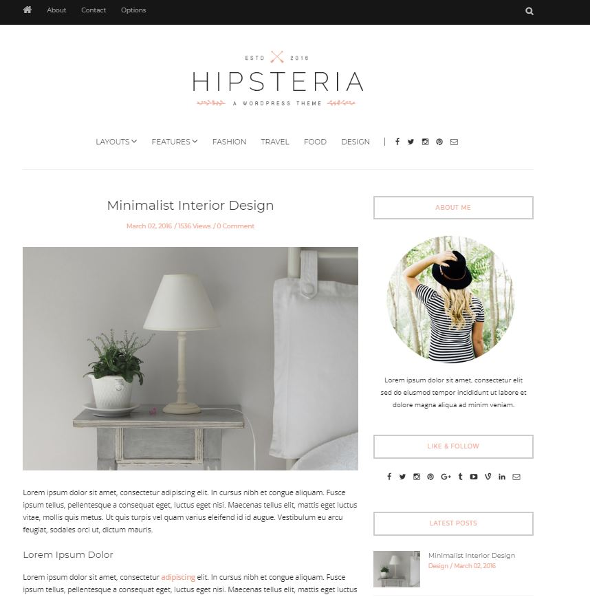 Hipsteria wordpress theme for female bloggers