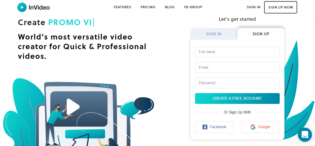 InVideo homepage