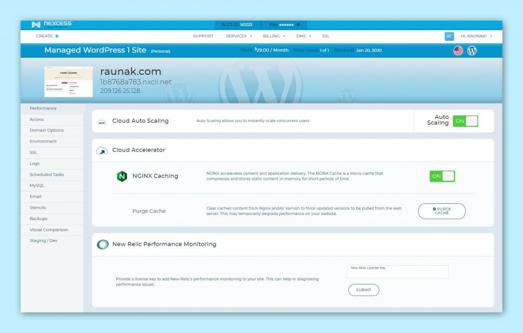 Nexcess web hosting dashboard