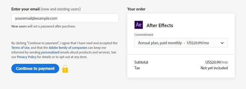 after effects pricing